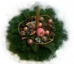 Medenozlatý vianočný aranžmán