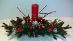 Červenostrieborný podlhovastý vianočný aranžmán